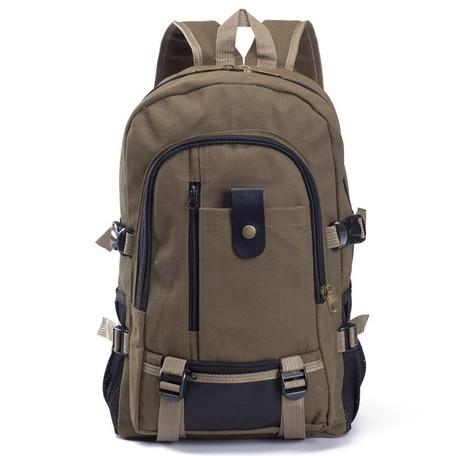 Men Canvas Backpack Student Bag Backpack Coffee