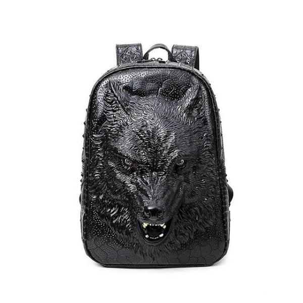3D Wolf Head Gothic Student Backpack Backpack Black