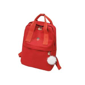 Large capacity multi-layer School canvas backpack Backpack Red