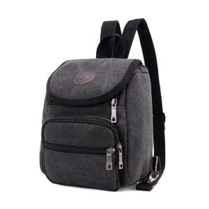 Men's Canvas backpack leisure travel, chest bag Backpack Black