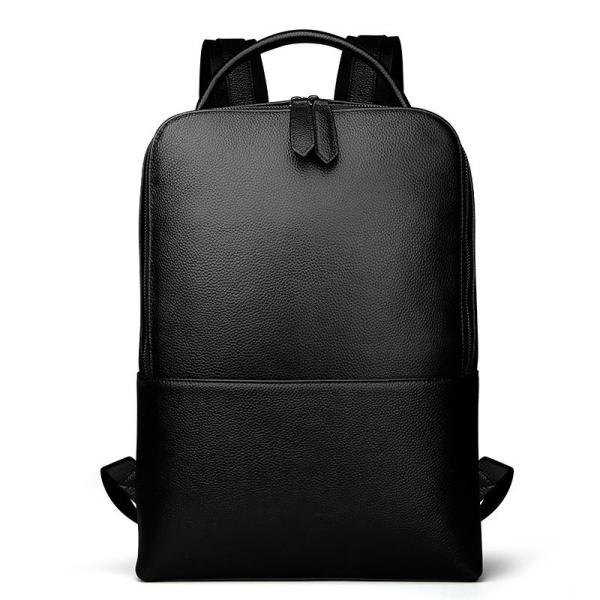 Leather litchi pattern Men backpack Backpack Black