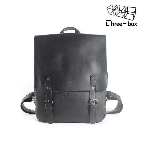 Men's stylish PU leather Business Backpack Backpack Black