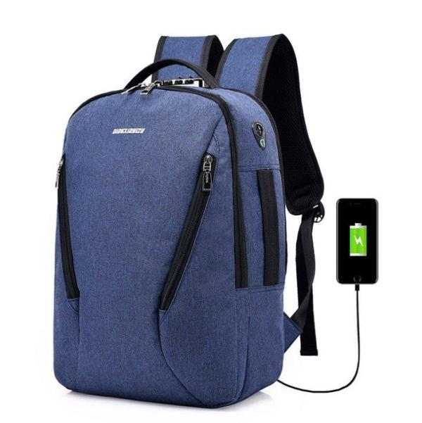 Laptop knapsack USB charging, waterproof and anti-theft Backpack Blue