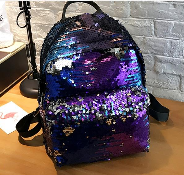 Super Shinning Disco Sequin Women Backpack Backpack Blue