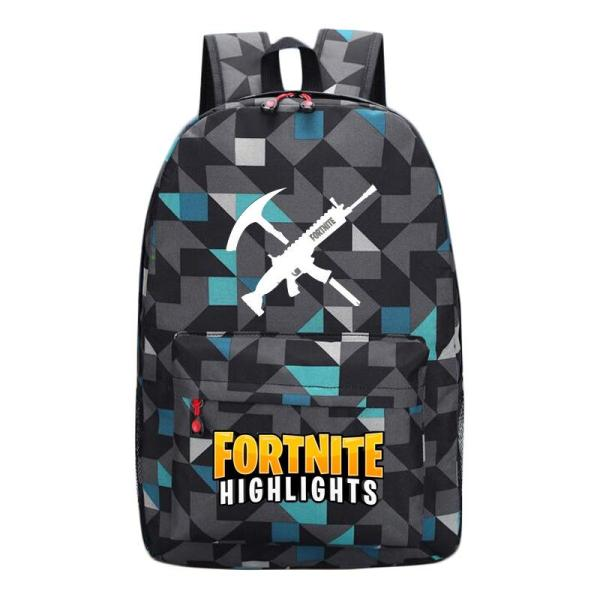 Game style juvenile casual School backpack Backpack Plaid blue