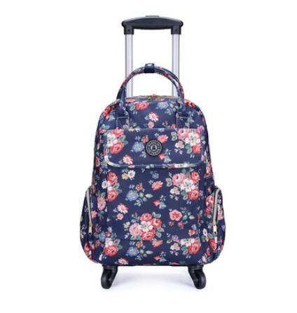 Canvas Floral Printed Backpack with wheels chinese rose