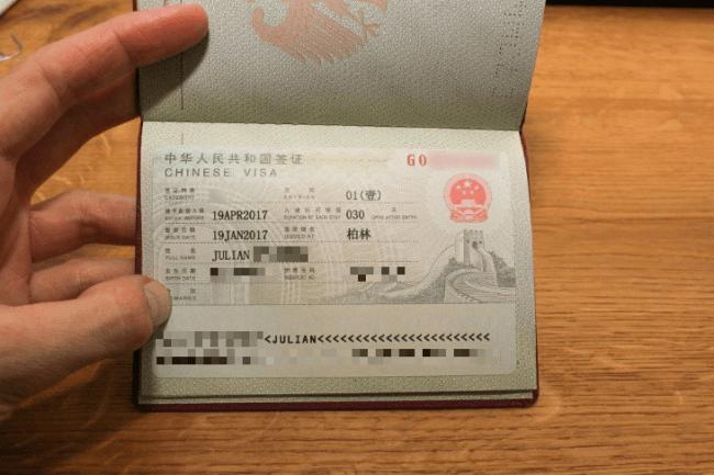 Reisepass mit chinesischem Visum für 30 Tage