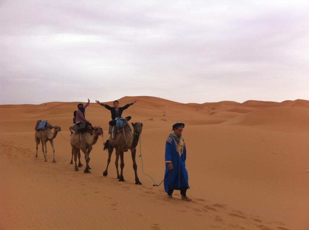 ラクダに乗ってサハラ砂漠を散歩