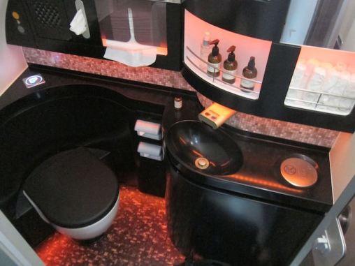 The first class lavatory aboard the Etihad SuperJumbo