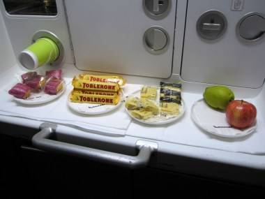 "The self service ""snack bar"" onboard the Qantas A380 economy cabins"