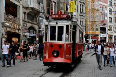 Tram rides are popular down Istiklal Avenue