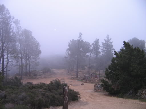 Eerie fog enveloping Beeks Place at Black Star Canyon