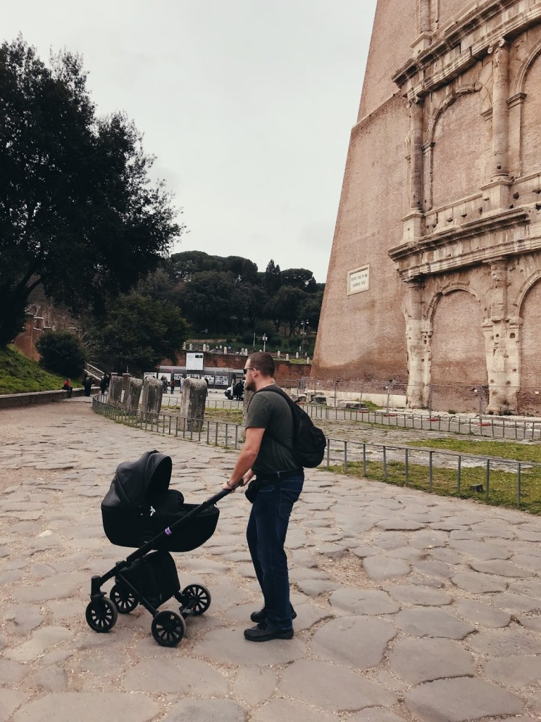 colosseum rome with a toddler