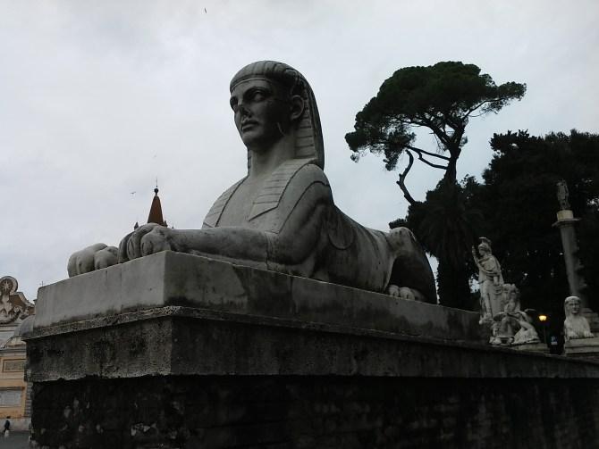 A sphinx near the Piazza del Popolo