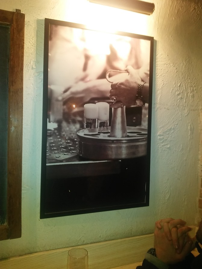 A poster inside the bar