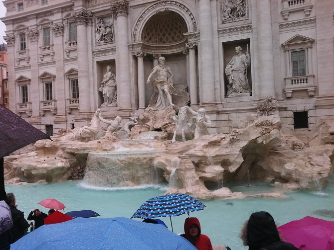 We saw the Trevi fountain again. The person standing next to me kept bumping their umbrella into the side of my face, and I just had to start pushing it away from me.