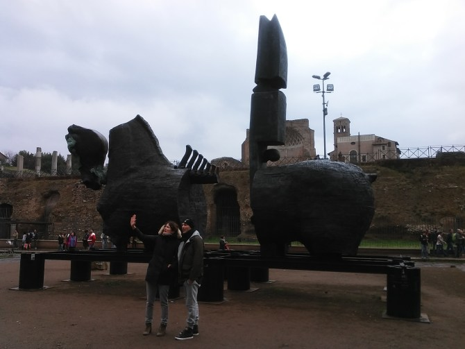 A modern sculpture by Gustavo Aceves near the Colosseum