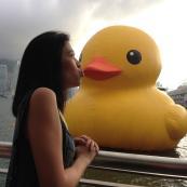 Cherie & The Duck in Hong Kong harbor