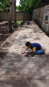 Chalk writing outside