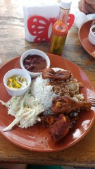 Rice and beans Belize style - spot the scotch bonnets!