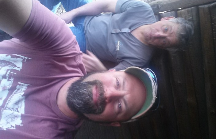 Dad and I for tea at the Legend Wood Shelter