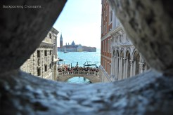 A view of the Bridge of Sighs from inside the Doge's Palace