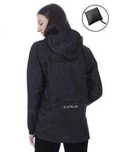 EZRUN Women's Waterproof Hooded Rain Jacket Windbreaker Lightweight Packable Rain Coats