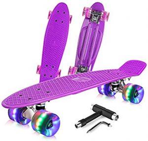 BELEEV Complete Mini Cruiser Retro Skateboard for Kids