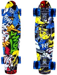 ENKEEO Skateboards 22 Inches Skateboard Complete Cruiser Plastic Banana Board