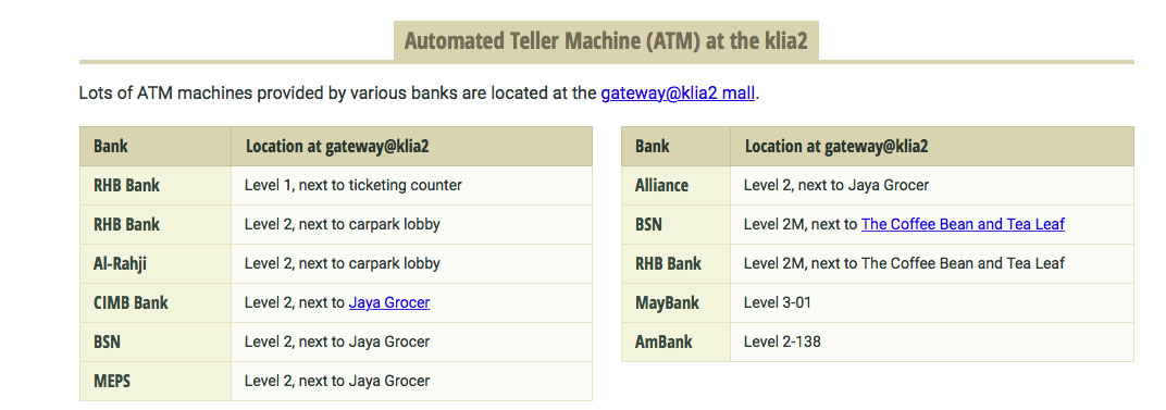 Malaysia Travel Guide ATMs at KLIA2
