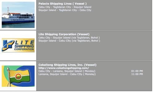Dumaguete-Siquijor Ferry Schedule