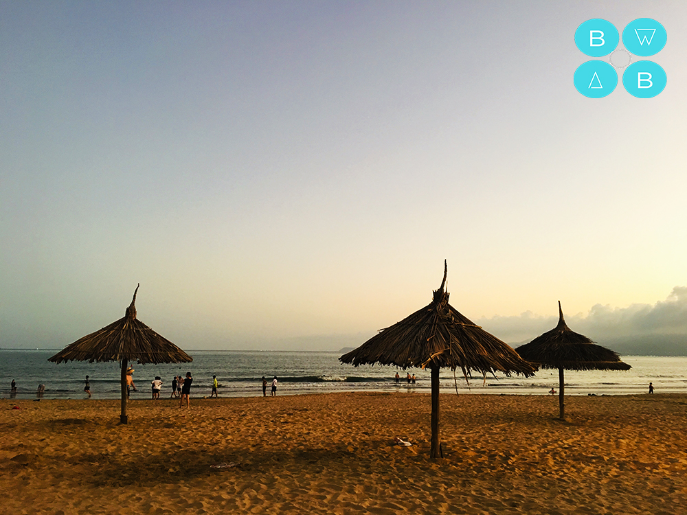 Quy Nhon's city beach is a fave spot for many locals some sundown,