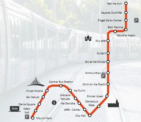 The light-rail train route (from citypass.co.il)