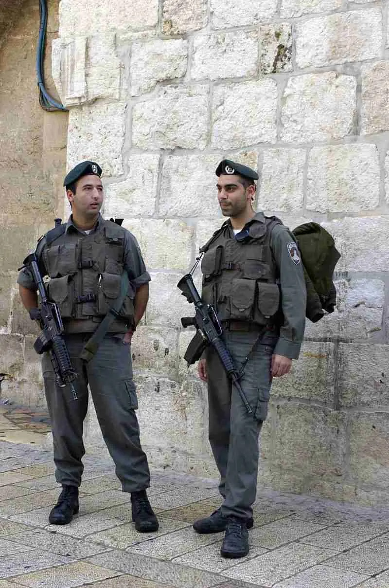 Two Magav policemen in the Old City of Jerusalem