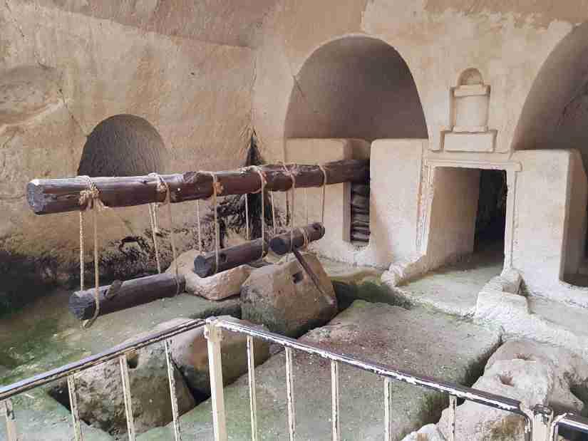 Restored underground oil press from Beit Guvrin National Park