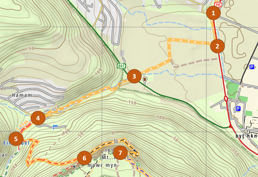 Map of the trail from Midgal to the Jordan River