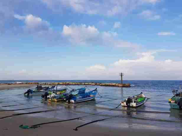 Fishermen boats of Jizr al-Zarqa on the Israel National Trail