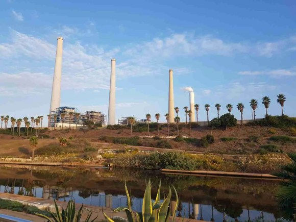 The Orot Rabin power station chimneys from the Israel National Trail