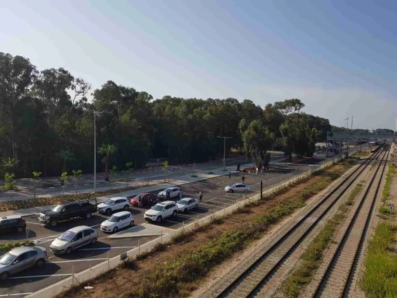 The filming set next to Hadera West Railway Station