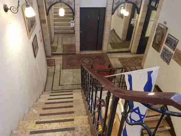 The staircase in the Jerusalem Hostel