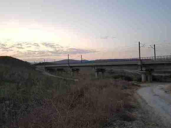 Crossing the railway on the Israel National Trail near Sha'alvim