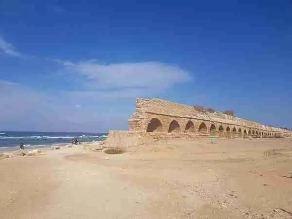 The ancient aqueduct near Caesarea National Park
