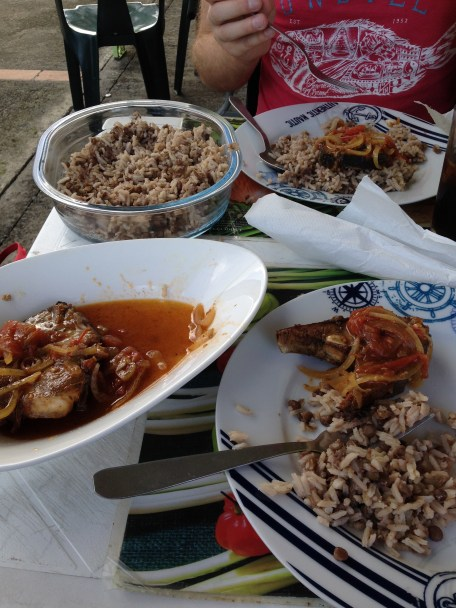 Amazing creole fish and rice in St. Rose, Guadeloupe