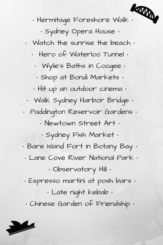 Sydney Bucket List