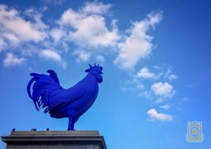 The Hahn/Cock statue of a giant, blue cockerel. It stood in Trafalgar Square from 2013-2015. London, England.