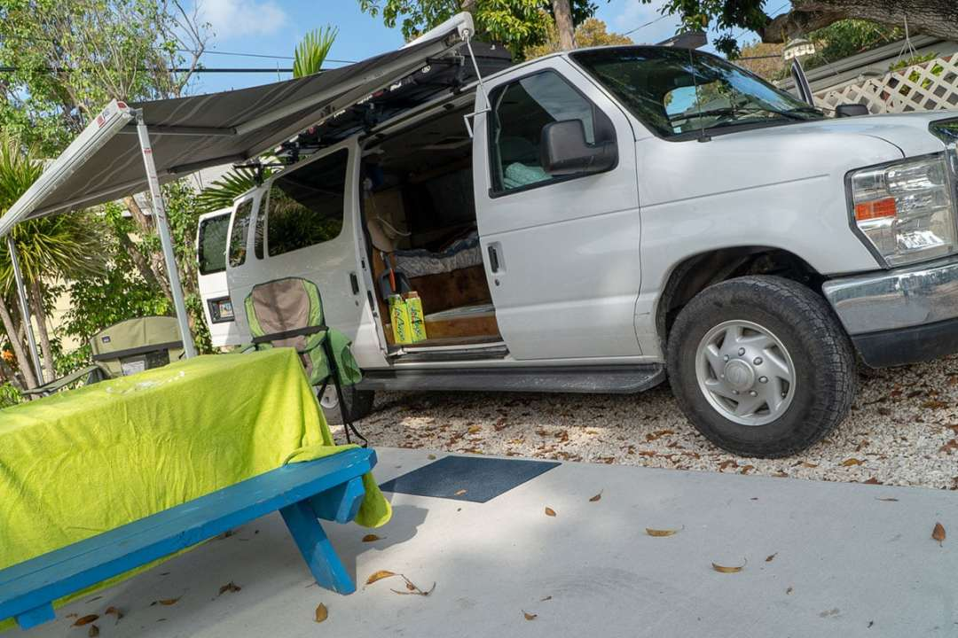 How to spend two days in Key Largo: Our van is decked out for island life in a campground in Key Largo.