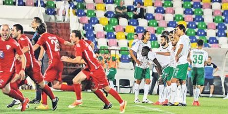 FC Chikhura Sachkhere celebrate after beating Bursaspor on penalties
