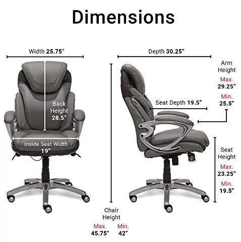 Serta Air Health and Wellness Executive Office Chair Dimentions and Specifications