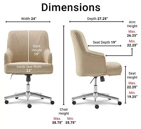 SertaLeighton Home Office Chair Dimentions and specification