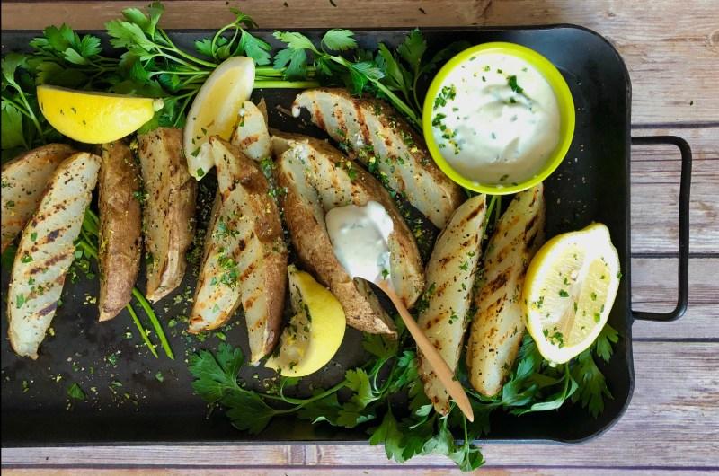 grilled lemon pepper potato wedges